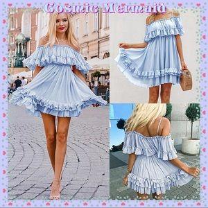 Dresses & Skirts - ✨Blue🆕🦋Off Shoulder Mini Ruffle Tutu Dress🦋